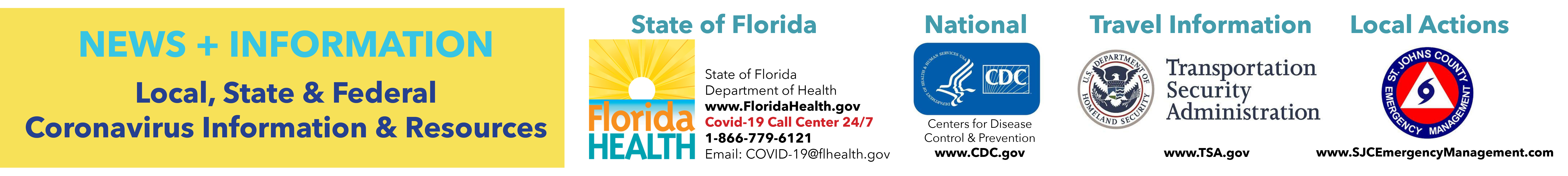 Banner graphic with information and websites for www.FloridaHealth.gov and cdc.gov and tsa.gov and sjcemergencymanagement.com